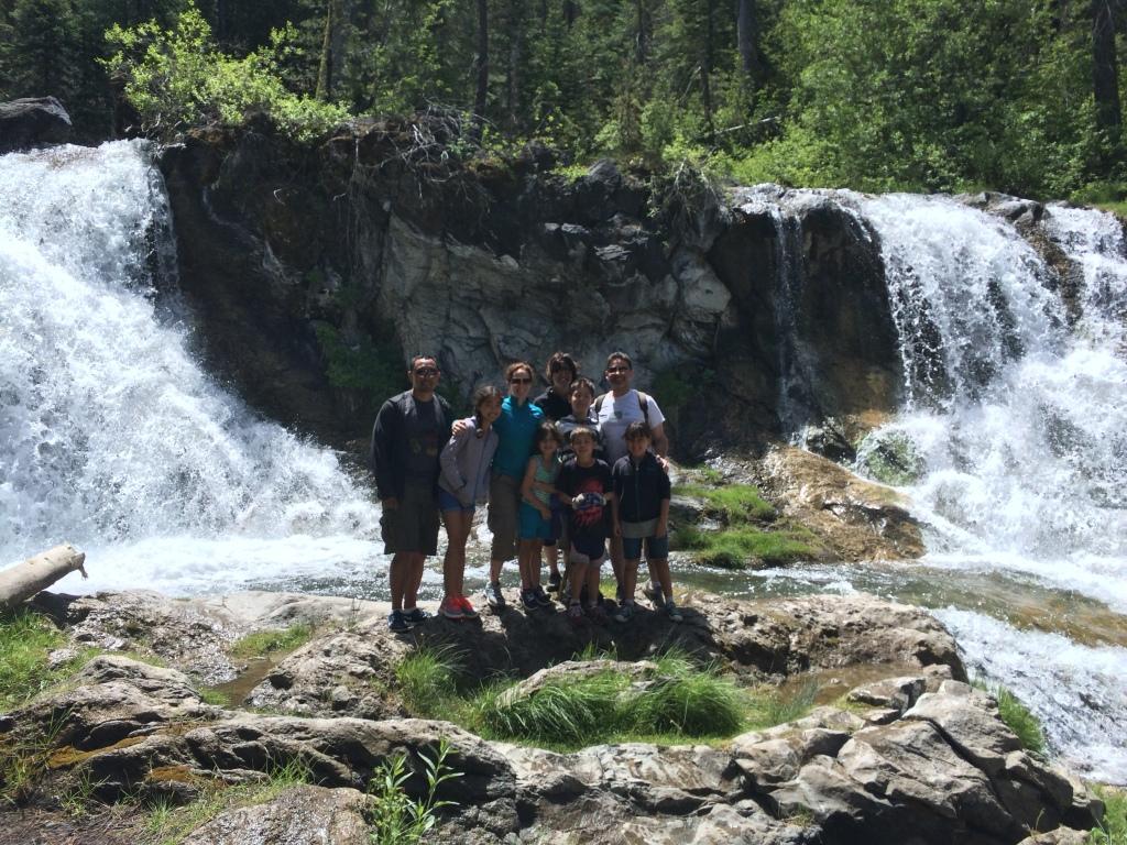 Waterfall stop on the mountain bike tour