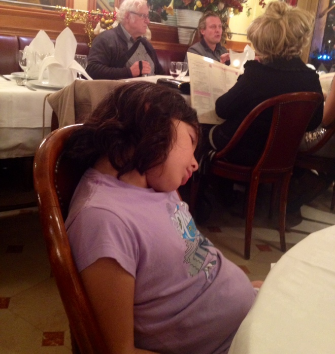 Sleeping through a french meal and oblivious to the woman sitting behind you with the big bouffant hair.
